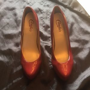 Candie's  Red Patent Leather 4' Pump Heels  Size 8